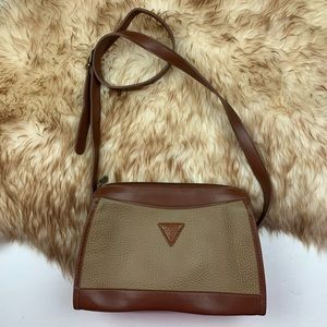 Guess Logo Crossbody Vintage Brown Tan Handbag
